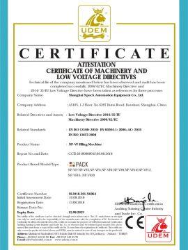 Uzpildes mašīnas CE sertifikāts